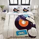 621 XiYRUAN Disques de Gramophone Indépendants et Vieilles Cassettes Audio sur Table en Bois Musique Nostalgie,Parure de Lit Pou Housse de Couette (140x200) et 2 Taies d'oreiller pour Lit