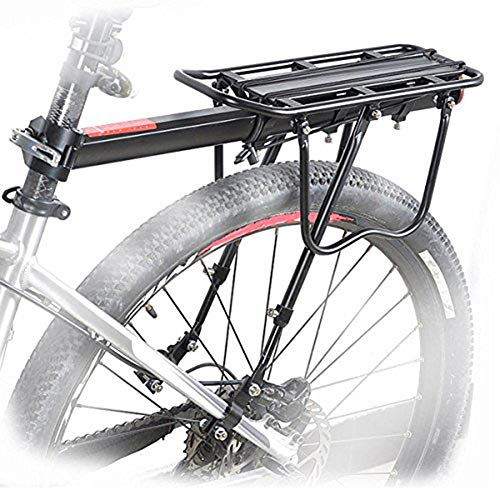 """HOMEE Rear Bike Rack, 110 lbs / 50KGS Bike Cargo Racks Frame Aluminum Alloy Universal Adjustable Cycling Equipment Stand Footstock Bicycle Luggage Carrier with Tools and Reflector for 26""""-29"""" Frames"""