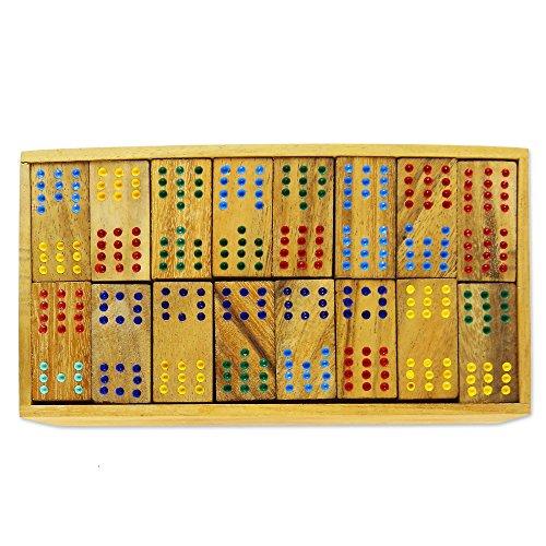 NOVICA Hand Made Rain Tree Wood Double Twelve Domino Set, 'Colorful Dominoes'