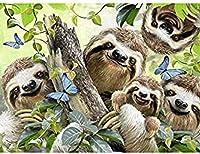 ダイヤモンド描画キット5DDIYラウンドフルダイヤモンド描画工芸品キャンバスアートリトルエンジェル/動物エルフ風景家の壁の装飾特別なギフトフレームレスかわいいナマケモノ40x50