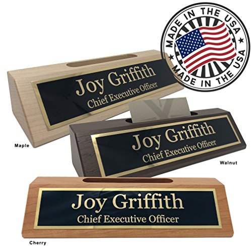 Personalized Business Desk Name Plate with Card Holder - Made in USA (Cherry Wood)