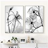 LingYuKeJi Nordic Abstrakte schwarz-weiße Pflanze Blume
