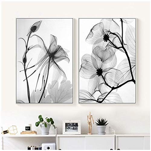 LingYuKeJi Nordic Abstrakte schwarz-weiße Pflanze Blume Poster Leinwand Druck Wandbild Kunst Schlafzimmer Heimdekoration Modular Bild - 50 x 70 cm ohne Rahmen