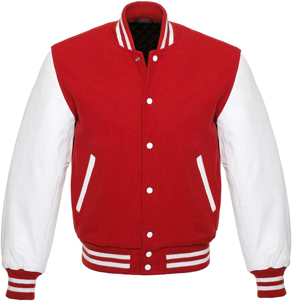 Varsity Letterman Baseball Bomber Retro Vintage Jacket Red Wool White Genuine Leather Sleeves