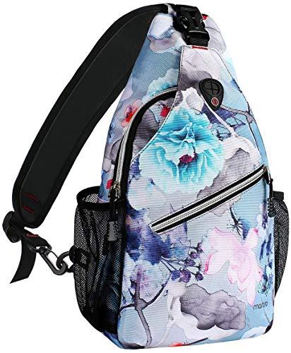 MOSISO Brusttasche Sling Rucksack Schultertasche, Polyester Crossbody Umhängetasche Sporttasche Kompatibel Herren Damen Mädchen Jungen Reise Daypack, Tinte-waschen Malerei