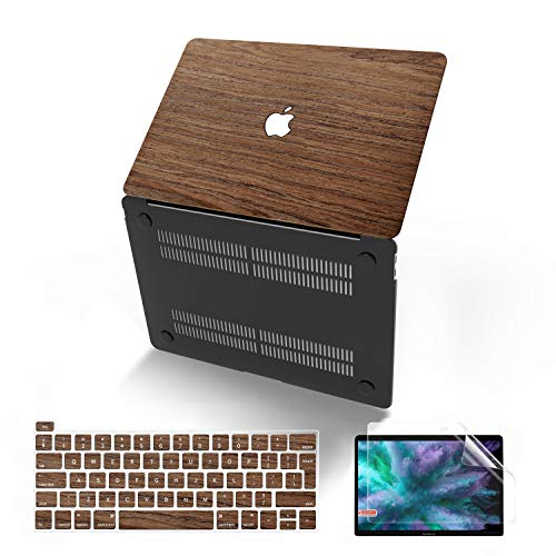 MacBook Pro 13 Inch Case 2019 2018 2017 2016 Release A2159/A1989/A1706/A1708, Anban Ultra-Slim Wooden Hard Corner Protective Shell Cover Compatible for Mac Pro 13 with/Without Touch Bar, Cherry