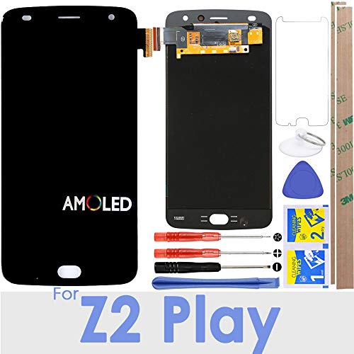 """Price comparison product image for Moto Z2 Play LCD Screen Replacement Touch Digitizer Display 5.5"""" for Motorola Z2 Play XT1710 XT1710-01 XT1710-02 XT1710-06 XT1710-07 (Black)"""