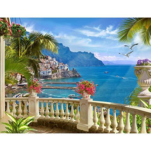 Runa Art Fototapete Balkon zum Meer Italien Modern Vlies Wohnzimmer Schlafzimmer Flur - made in Germany - Blau Grün 9166010a