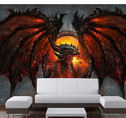 Fototapeten 3D Fire Dragon Fototapete Persönlichkeit Benutzerdefinierte Große Tapete Einzigartige Innenausstattung Schlafzimmer Flur Kinderzimmer-280X200Cm,Wandbilder