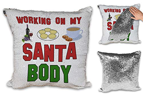 Working On My Santa Body Funny Novelty Sequin Reveal Magic Cushion Cover