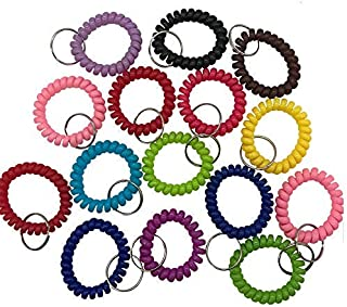 DoTebpa 30pcs Stretchable Spiral Bracelet Wrist Coil Key Chains, Wrist Band Key Ring Chain for Outdoor Sport -Multicolor