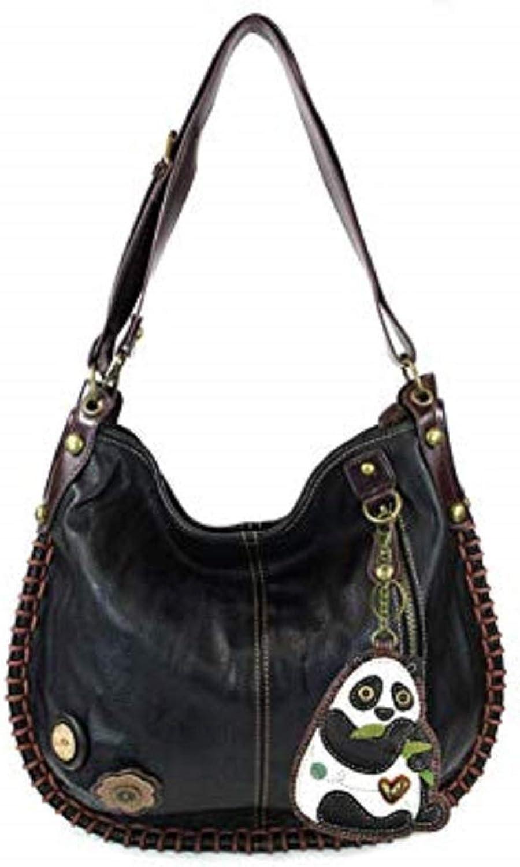 Chala Handbag Charming Hobo DADA PANDA Black Vegan Leather Soft nice gift