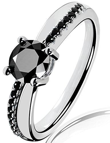 Lars Benz LUXUS Damen-Ring Verlobungsring Swarovski Zirkonia 1,4 Karat 6mm schwarz Sterling-Silber 925 Zertifikat Solitärring Antragsring Vorsteckring Silberring klassisch ORIGINAL 59-mm