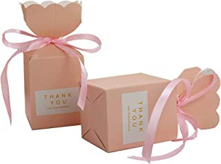 Candy Boxes Pink Candy gift box Vase Shape small Party Favor Box with Ribbons Sticker for Wedding,Bridal Shower,Birthday,Baby Shower,Anniversary,holiday celebration party decorations supplies ,50pcs