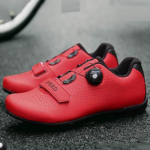 CHD Scarpe antibloccaggio Bicicletta con manopole Sono Antiscivolo e Resistente all'Usura, Adatto per Gli Uomini di Equitazione all'aperto 36-46 Comodo Respirabile,Rosso,36