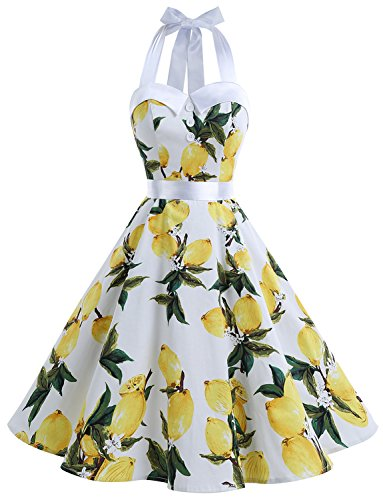 Dressystar Vintage Polka Dot Retro Cocktail Prom Dresses 50's 60's Rockabilly Bandage Lemon XS