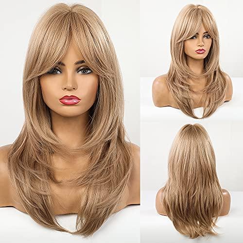 HAIRCUBE Lange lockige blonde Frauenperücken Synthetische Perücken für Frauen mit Pony Naturwelle Hellblonde Haarperücken für Frauen Cosplay Damenperücke