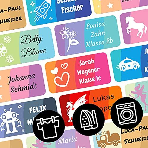 foliado® Bügeletiketten Namensaufkleber für Kinder bis zu 3-zeilig Etikett 30x15mm Schule Kita Kleidung personalisierte Wäscheetiketten wasserfest zum aufbügeln auf Textil (65 Stück) APD-025