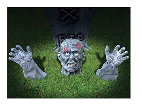 Zombie Ground Breaker Halloween Prop Yard Dekoration inkl. 2Hände W/Ärmeln und Undead Kopf