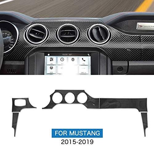 Super11Six Auto Mittelkonsole Armaturenbrett und Klimaanlage Lüftungsschlitz Dekoration Zierleisten Passt für Ford Mustang 2015-2019, ScheinwerferSchalter,Carbon Fiber