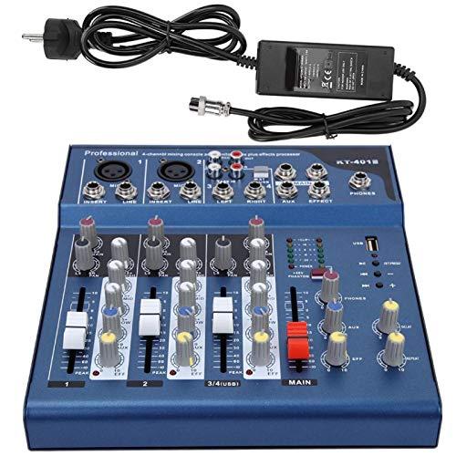 Shipenophy Mezclador Profesional de bajo Ruido con módulo USB Mp3 para Karaoke, Cine en casa, Amplificador, Altavoz(European regulations)