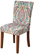 Meadow Lane Parsons Chair, Multi Color Paisley Print, Set of Two