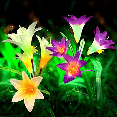 Mr.Twinklelight® Solarleuchte Garten, 2 Stück Solar Lilie Blumen Garten Lampen 4 Kopf Solarlicht mit Farbwechsel LED Außen Dekoration Lichter für Garten/Rasen/Feld/Terrasse (lila und weiß)