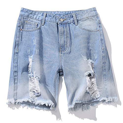 Pantalones Cortos de Mezclilla para Hombre Verano Europeo y Americano Pantalones Cortos de Mezclilla Rasgados con Personalidad de Gran tamaño Pantalones Cortos de Moda XXL