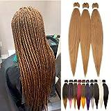 66cm-Extension per Trecce Africane 3 Pezzi Capelli Lunghi Soffice Braiding Hair Extension Treccine per Capelli Finti-Castano Ramato Chiaro