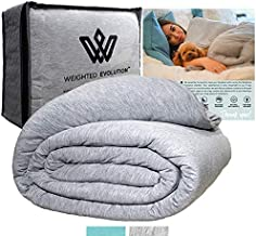 Weighted Evolution Weighted Blanket+ Bonus Organic Bamboo Duvet Cover |Pre-Assembled| Best Blanket for Adults/Kids-Warm Co...