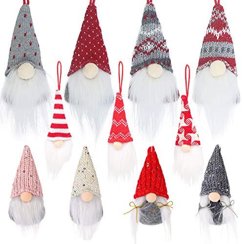 LSJDEER Confezione da 11 Set di Ornamenti Natalizi di gnomi, gnomi di Peluche Tomte Fatti a Mano di Natale Svedese Cappello Santa Elfo Decorazione da Appendere per Bambola per L'Albero di Natale