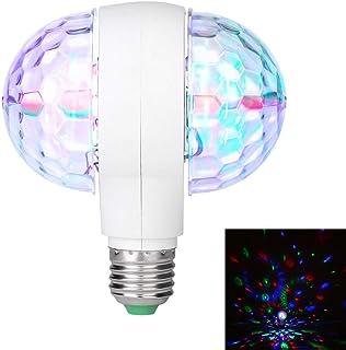 Bombilla de luz LED giratoria de 6W con lámpara de Discoteca de luz mágica de Doble Cabezal E27 (Enchufe Europeo Blanco y Transparente)
