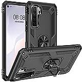 Fetrim Hülle Kompatibel für Huawei P40 Lite 5G, stoßfest Schutzhülle mit Drehring Ständer für Huawei P40 Lite 5G/Nova 7 SE Schwarz
