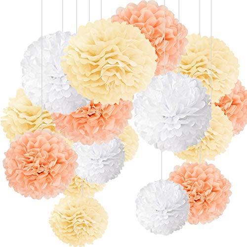 15er Set Pompoms Deko Bunt Seidenpapier Pompons für Hochzeit, Geburtstag, Party Champagner Weiß (3pcs*30.5cm/6pcs*25cm/6pcs*15.5cm)