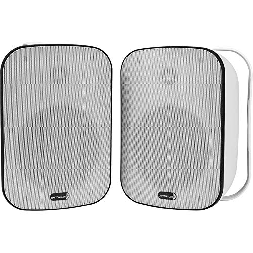"Dayton Audio IO65XTW 6-1/2"" IP66 70/100V 8 Ohm Indoor/Outdoor 2-Way Speaker Pair w/Radiator White"