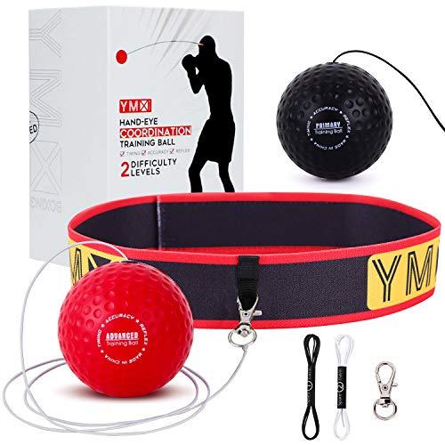 YMX BOXING Reflexball für Boxing-Training - Verstellbares Kopfband, weiche Schaum-Bälle - Hand-zu-Auge-Koordination, Reaktionsgeschwindigkeit, Fokus, Genauigkeit - Cardio- & Sport-Trainingsgeräte