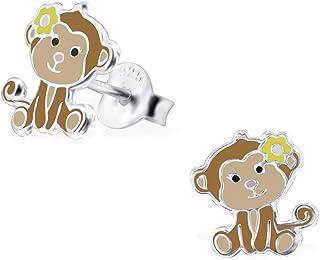Laimons, orecchini piatti, a forma di scimmietta, in argento Sterling 925, di colore marrone chiaro, per bambine