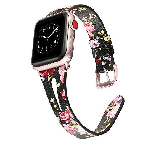 Secbolt Leather Bands Compatible with Apple Watch Band 38mm 40mm iwatch Series 5 4 3 2 1, Slim Strap with Breathable Hole Replacement Wristband Women, Black/Pink Floral