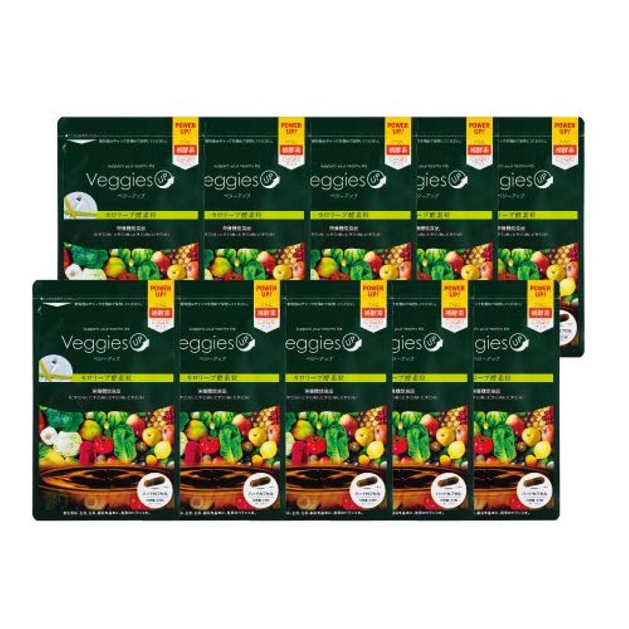 医薬パフ激しいベジーアップ酵素粒カロリーブ 93粒 10袋セット ダイエット 酵素サプリ 酵素ダイエット サラシア コエンザイムQ10 竹炭