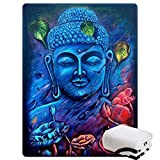 Morebee Blue Buddha Fleece Throw Blanket Custom Design Soft Lightweight Blanket for Couch Sofa or Bed(59'x 85')