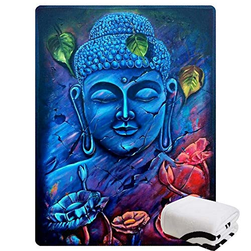 Morebee Blue Buddha Fleece Throw Blanket Custom Design Soft Lightweight Blanket for Couch Sofa or Bed(45'x 80')