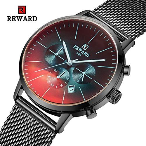 FAPROL-REWARD Herrenuhr, Multi Dial Chronograph Analog Quarz Sport Armbanduhr, Einfache Business Fashion Uhren RD82004M Black