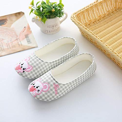 B/H Memory Foam Zapatos,Zapatos de confinamiento sección Delgada de Verano con Zapatillas de Maternidad Antideslizantes Indoor-Grey_40 / 41,Sandalias para Mujer