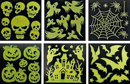 Halloween 6er-Sparset Grusel-Deko Sticker Spuck Festerdekoration: Leuchtet im Dunkeln