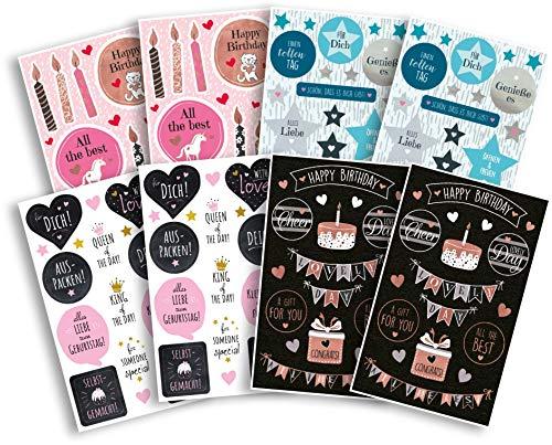 AVERY Zweckform 162 Sticker Geburtstag (Aufkleber Set, selbstklebend mit Glanzeffekt, Dekosticker, Karten, Glückwünsche, Party, Feier, Scrapbooking, Bullet Journal, Dekorieren, Geschenke) Art. 59981