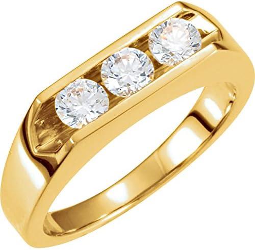 1 2ct Diamond Three Luxury goods Max 80% OFF Stone Mens Wedding White Ye 14k in Ring or