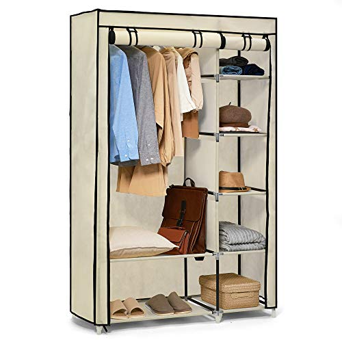 Hododou Portable Wardrobe Double Canvas Wardrobe Cupboard Clothes Storage Organizer with Hanging Rail Foldable Closet for Clothes, Bags, Toys, Shoes, Living Room, Bedroom 175 x 110 x 45CM Beige