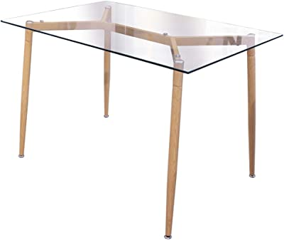 THE HOME DECO FACTORY HD6401 Table en Verre, Fer, Transparent, Beige, 115 x 75 x 75 cm