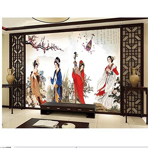 Lsfhb Tapete-Nichtgewebte Tapete Der Gewohnheits-3D Vier Große Schönheiten-China-Wohnzimmer Fernsehrückwand-Bettwäschewinterraum 3D Fototapete-120X100Cm