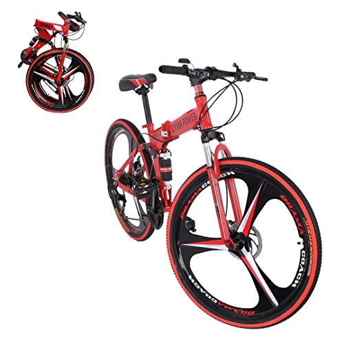 26 inch Adults Folding Mountain Bike for Men & Women High-Carbon Steel Mountain Bike Outdoor Exercise Road Bikes with 21 Speed Dual Disc Brakes Full Suspension Non-Slip (Red)